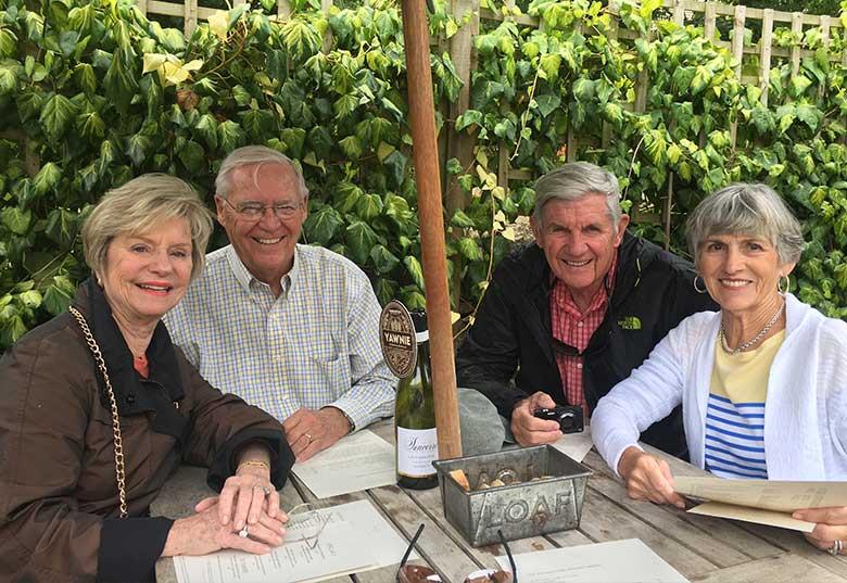 Lynda, Nat, Tom and Anne enjoying lunch in the beer garden of The Village Inn, Barnsley