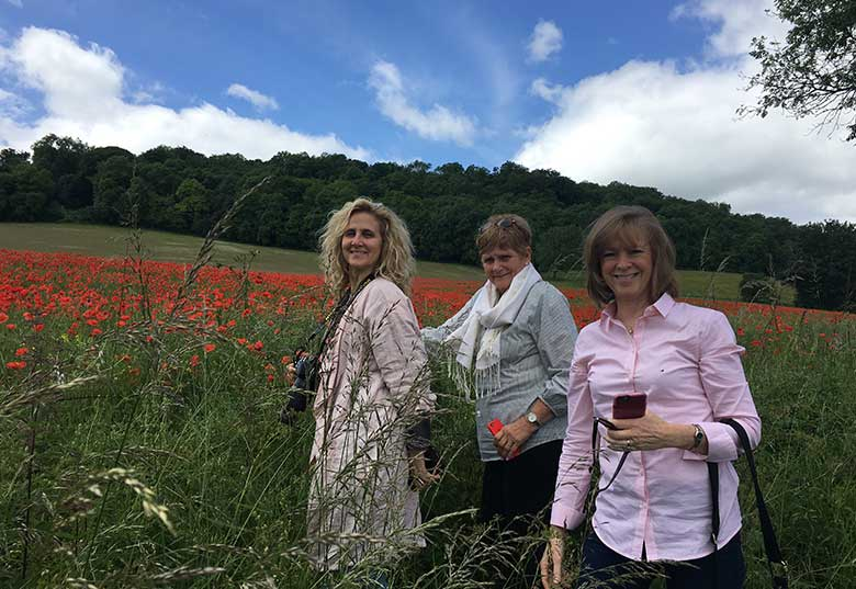 Kirsten, Kathy and Marci at the poppy fields