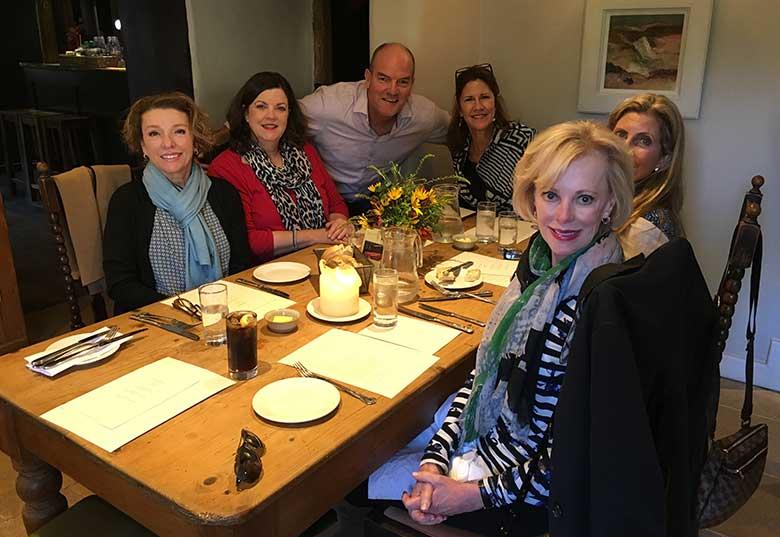 Kathleen, Mimi, Katy, Paula, Melenie having lunch at The Village Inn, in Barnsley
