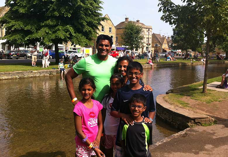 Sheryn Babu and Family in Bourton-on-the-Water