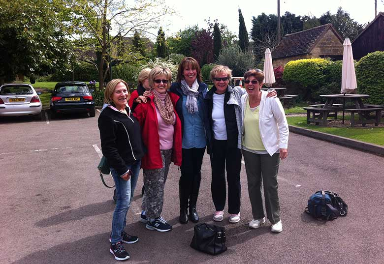 Carol and friends outside the Kings Arms in Mickleton with Ruth
