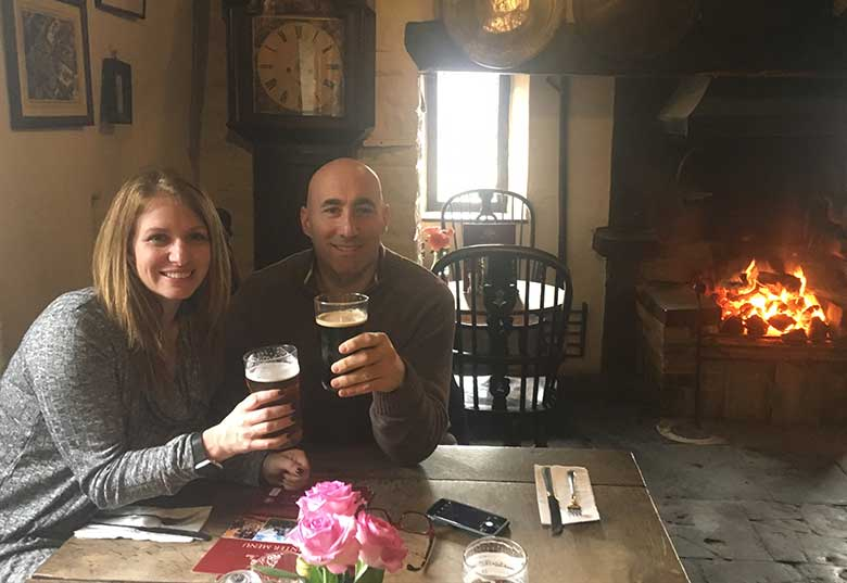 Bonnie and Mark at The Fleece with a pint of Pig's Ear
