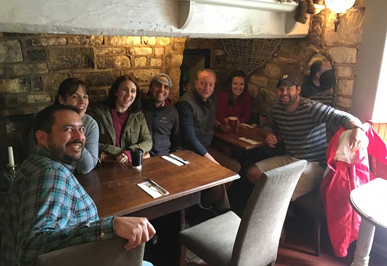 Anne and friends having lunch at The Kings Arms in Mickleton
