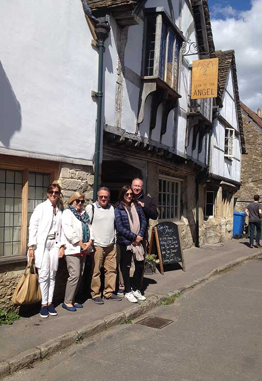 Maggie, Josephine, Ernest, Katherine and Rick outside Sign of The Angel, Lacock