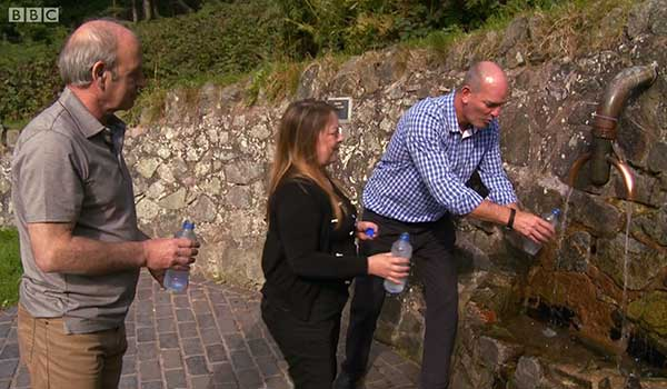 Chris presenting on BBC Escape to the Country collecting Malvern Spring Water