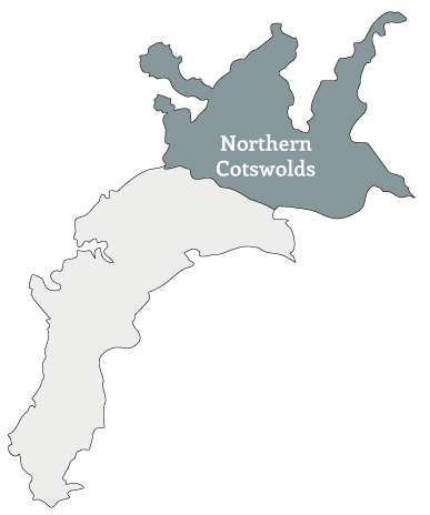 Northern Cotswolds Map. Copyright CJP Cotswold Tours.