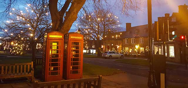 Winter in Broadway Cotswolds Christmas Lights Red Phonebox