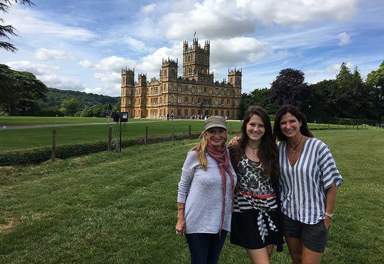 Patricia, Tracey and Savannah at Highclere Castle