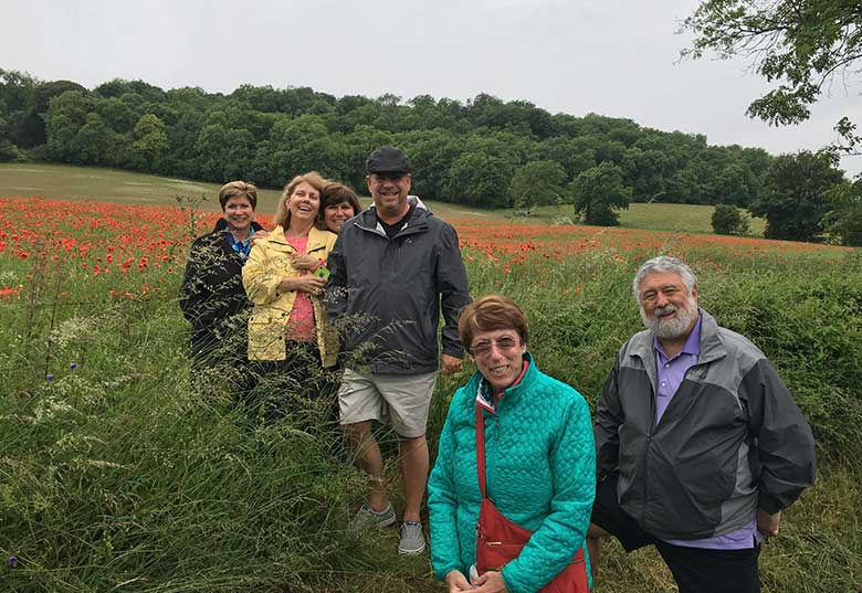 Kathy and friends overlooking the poppy fields