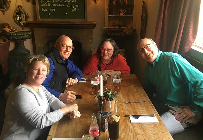 Howard, Ann, Jim and Sharon enjoying lunch at The Kings Arms in Mickleton