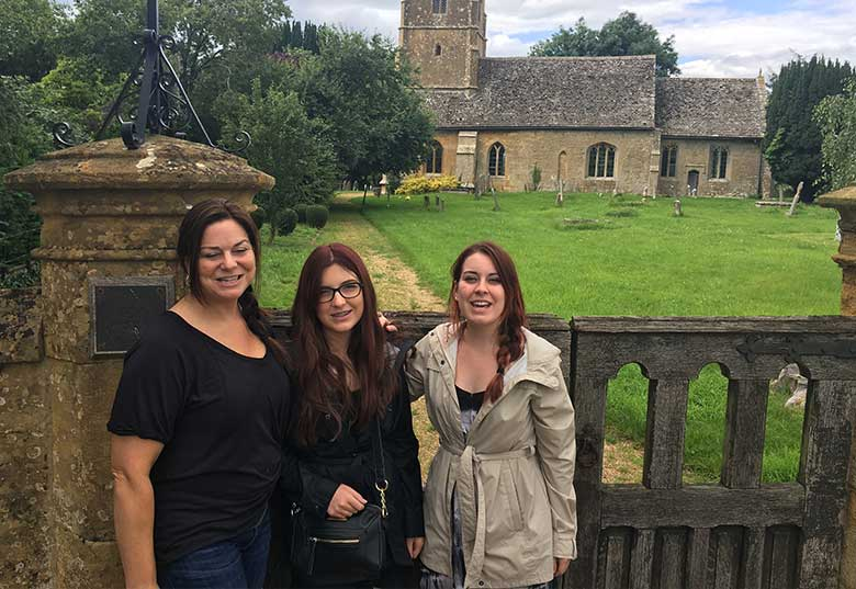 Gay, Bridget and sister Savannah outside Didbrook church