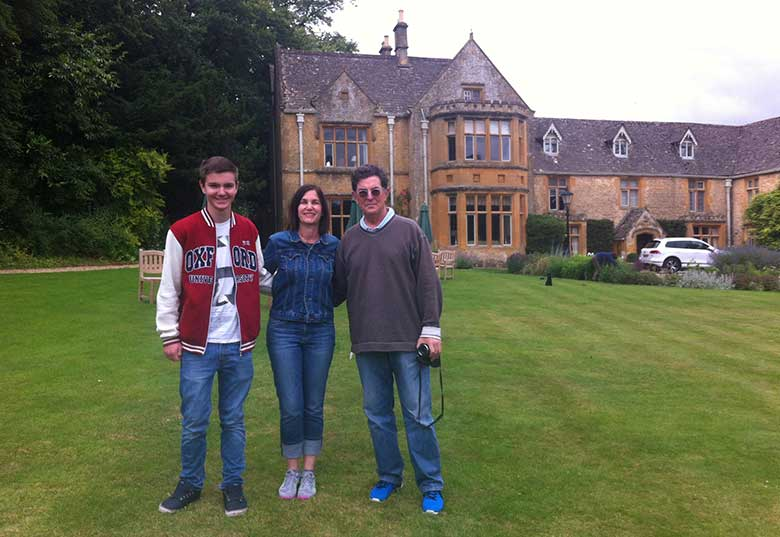 Scott, Julie and Zak at The Lords of the Manor in Upper Slaughter