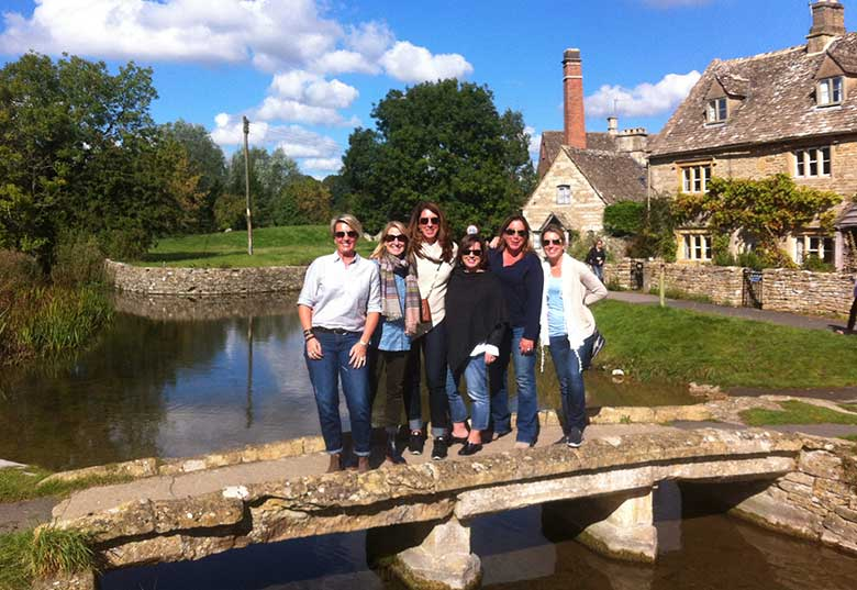Robin, Ruth, Hidi, Kerrie, Karen, Amy on the bridge at Lower Slaughter