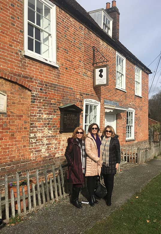 Sisters Mary, Susan and Jan outside Jane Austins house in the Village of Chawton, Hampshire