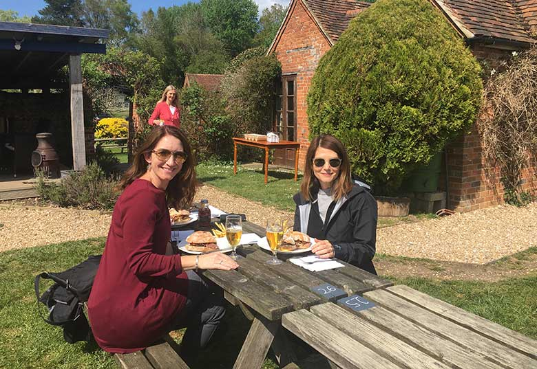 Rebel and good friend Natalle having lunch at 'The Pot Kiln', Frilsham, Berkshire