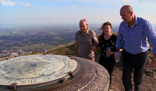Chris presenting on BBC Escape to the Country on top of the Malvern Hills