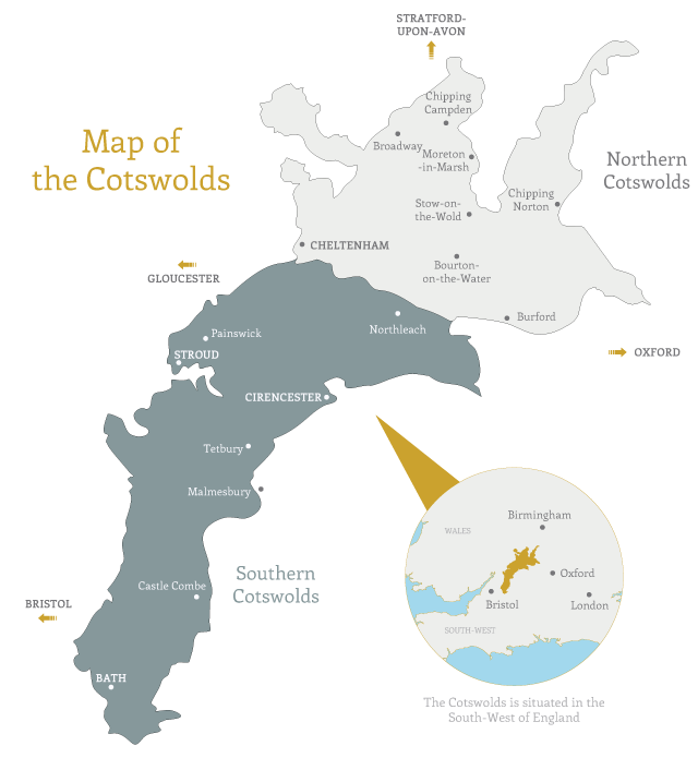 Map of the Cotswolds. Copyright CJP Cotswold Tours.
