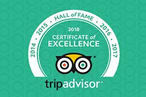 Winners of the TripAdvisor Hall of Fame (Recipients of the Certificate of Excellence for 5 years running)
