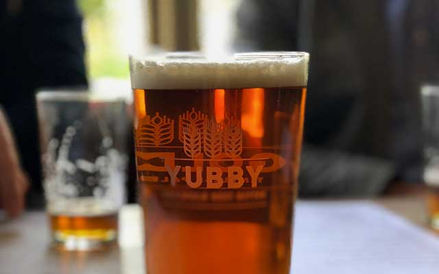 CJP Tours Recommended Accommodation - The Ebrington Arms pint of own-brewed Yubby