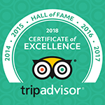 Winner of the TripAdvisor Hall of Fame (Winners of the Certificate of Excellence for 5 years running)